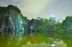 Little Guilin with greenery by night Royalty Free Stock Images