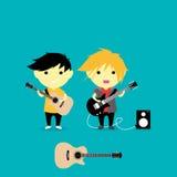 Little guitarist Vector Illustration. Vector Illustration Little children as guitarist Royalty Free Stock Photography