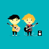 Little Guitarist Vector Illustration Stock Image