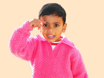 Little guy. Image of boy with playful gesture Royalty Free Stock Photo