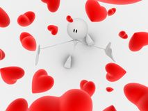Little guy with hearts Royalty Free Stock Image