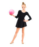 Little gymnast doing exercise with ball Stock Photos