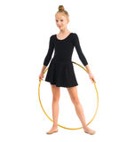 Little gymnast doing exercise with hoop Stock Image