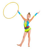 Little gymnast doing an exercise with hoop Royalty Free Stock Photography