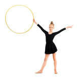 Little gymnast doing exercise with hoop Royalty Free Stock Images