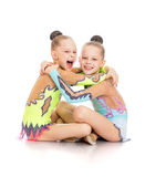 Little gymnasts hug Royalty Free Stock Photos