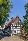 Little half timbered house in historic city Tecklenburg royalty free stock photo
