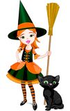 Little Halloween Witch. Illustration for Halloween with a little cute witch  and cat. Cat is different layer Royalty Free Stock Image
