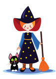 Little halloween witch with cat. Little cute halloween witch with broom and black cat. Vector illustration Stock Photo