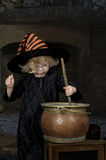 Little halloween witch. With cauldron Stock Photos