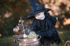 Little halloween witch with couldron outdoors Stock Photos