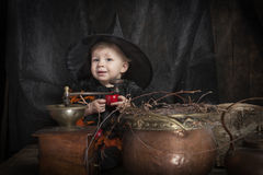 Little halloween witch. Cute little halloween witch with cauldron Royalty Free Stock Image