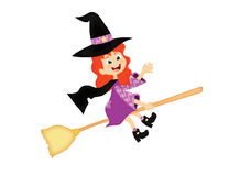 Little halloween witch. On flying broom Royalty Free Stock Photo