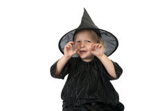 Little halloween witch on white background Stock Photos
