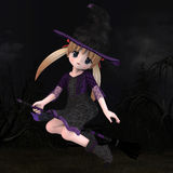Little Hallowen Witch #01. Cute little witch with broom Royalty Free Stock Image