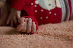 Little hand new born baby. Feets of  first new born baby Royalty Free Stock Photos