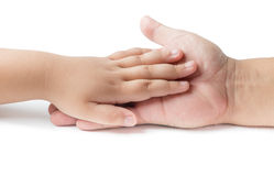 Little hand  touch on father hand isolated. On white Stock Photography