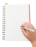 Little hand write on note book Stock Images
