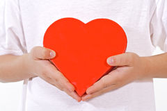 Little hands with valentines heart Royalty Free Stock Image
