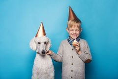 Little handsome boy with dog celebrate birthday. Friendship. Love. Cake with candle. Studio portrait over blue background royalty free stock images