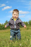 Little handsome boy goes at green meadow Stock Photos