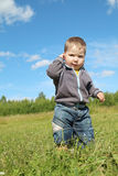 Little handsome boy stands at green meadow Royalty Free Stock Photo