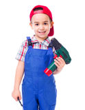 Little handyman with drill Stock Photography