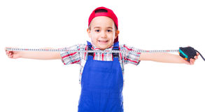 Little handyman with measuring tape Stock Photography
