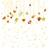 Little hanging hearts, other decorations on golden dots background. Greeting card for Valentine's day, february 14, or Wedding Engagement invintation. Save the Royalty Free Stock Image