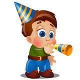 A little happy animated boy are blowing on festive pipes at birthday party isolated on white background. Vector cartoon. Close-up illustration Royalty Free Stock Photography