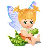 A little happy animated girl with fairy wings holding a green peas isolated on white background. Vector cartoon close-up Royalty Free Stock Image