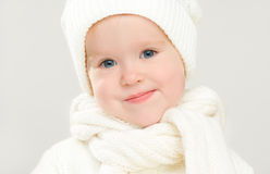 Little happy baby child girl in white hat in  winter Royalty Free Stock Image
