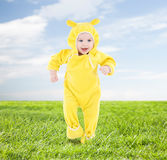 Little happy baby making his first steps Royalty Free Stock Photos