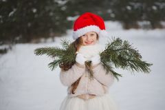 Little happy beautiful girl in winter forest stock images