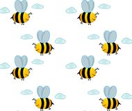 Little bee in the sky. Little happy bee flies in the sky. Some clouds and bee vector illustration