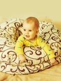 Little happy boy in blankets royalty free stock photo