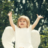 Little happy boy dressed as angel Royalty Free Stock Photography