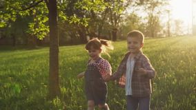 Little happy boy and girl holding hands and running on grass at sunset