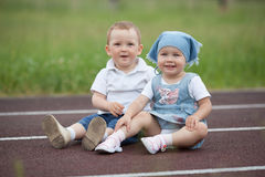 Little happy boy and girl Stock Image