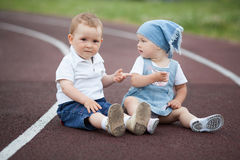 Little happy boy and girl Royalty Free Stock Photos