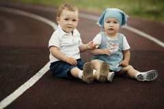 Little happy boy and girl Royalty Free Stock Images
