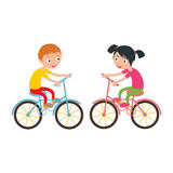Little happy boy and girl on sport bike vector illustration. Royalty Free Stock Image