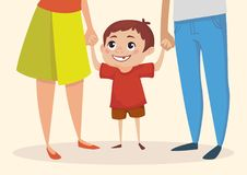 Little happy boy is holding hands with parents and looking up. Vector illustration. Stock Photos