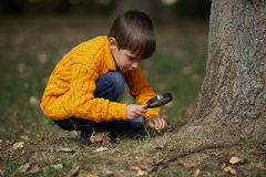 Little happy boy with magnifying glass Stock Images