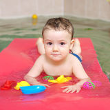 Little happy boy in pool Royalty Free Stock Photos