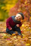 Little happy child boy sits in park on background of colorful au stock images