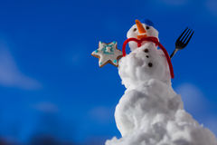 Little happy christmas snowman with cookie star outdoor. Winter season. Stock Photo