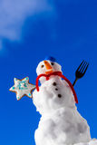 Little happy christmas snowman with cookie star outdoor. Winter season. Royalty Free Stock Photography