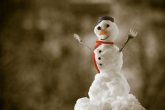Little happy christmas snowman with fork outdoor. Winter season. Royalty Free Stock Images