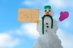 Little happy christmas snowman paper card message outdoor. Winter. Stock Photography